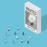 Isometric business people looking at ideas wanted poster stock illustration