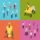 Isometric Business People. Motivation, Communication and Leadership Concept. Vector 3d flat illustration Stock Photo