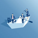 Isometric business people and paper boat Royalty Free Stock Images