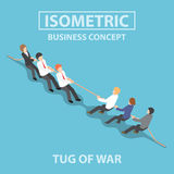 Isometric business people playing tug of war. Business people playing tug of war, Competition concept, Flat 3d web isometric infographics design, VECTOR, EPS10 Stock Photography