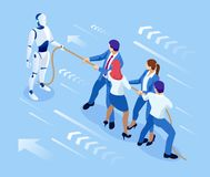 Isometric business people and robot fighting with artificial intelligence in suit pull the rope, competition, conflict. Tug of war and symbol of rivalry stock illustration