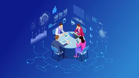 Isometric business people talking conference meeting room. Team work process. Business management teamwork meeting stock illustration