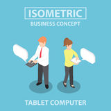 Isometric business people using tablet computer. Business people using tablet computer, Flat 3d web isometric infographics design, VECTOR, EPS10 Royalty Free Stock Image