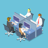 Isometric Business People Working with Headset in a Call Center. Flat 3d Isometric Business People Working with Headset in a Call Center and Service. Customer Royalty Free Stock Images