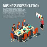 Isometric business presentation, meeting, financial report flat illustration. With sample text on gray background. Vector modern design for websites, web banner Stock Photography