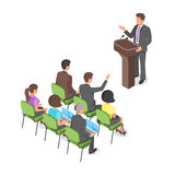 Isometric business presentation or political conference. Royalty Free Stock Photo