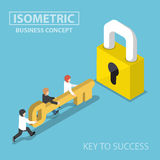 Isometric business team holding golden key to unlock the lock. Business solution, key to success and teamwork concept Stock Photos