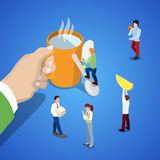 Isometric Business Team Work. Hand with Cup of Tea and People Royalty Free Stock Photos