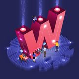 Isometric business teamwork. Business concept teamwork of peoples working development isometric alphabet type. Design for bold company name W. Vector stock illustration