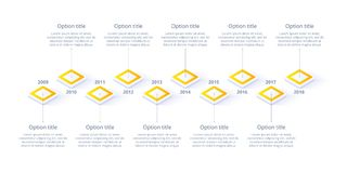 Isometric business timeline workflow infographics. Corporate mil. Estones graphic elements. Company presentation slide template with year periods. Modern vector royalty free illustration