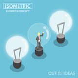 Isometric Business Trapping Inside Broken Light Bulb. Flat 3d Isometric Business Trapping Inside Broken Light Bulb,  Out of Ideas Concept Royalty Free Stock Images