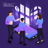 Isometric business UI/UX Team royalty free illustration