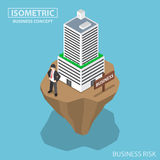 Isometric businessman build business building on unstable land. Flat 3d isometric businessman build business building on unstable land, business and investment Royalty Free Stock Photos