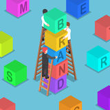 Isometric businessman building BRAND block. Flat 3d isometric businessman building BRAND block, brand building concept Royalty Free Stock Image