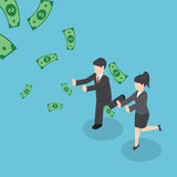 Isometric businessman and businesswoman chasing falling dollar m Stock Photos