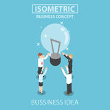 Isometric businessman and businesswoman getting good idea Stock Images