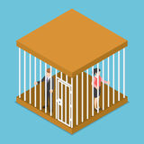 Isometric businessman and businesswoman trapped in the cage. Royalty Free Stock Photos