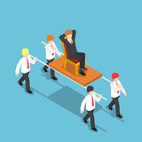 Isometric businessman carrying his boss Royalty Free Stock Image