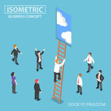 Isometric businessman climbing ladder to the door. Flat 3d isometric businessman climbing ladder to the door with blue sky, freedom and success concept Royalty Free Stock Images