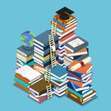 Isometric businessman climbing ladder to graduation cap. Flat 3d isometric businessman climbing ladder to graduation cap. Education concept Stock Photography