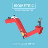 Isometric businessman climbs up to the top of graph Stock Photo