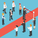 Isometric businessman cutting red ribbon at grand opening event. Royalty Free Stock Photo
