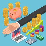 Isometric businessman divide the money for saving and investing. Flat 3d isometric businessman divide the money for saving and investing. Money and financial Royalty Free Stock Images
