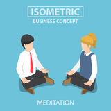 Isometric businessman doing yoga in lotus pose. Flat 3d isometric businessman doing yoga in lotus pose. Meditation in business concept Royalty Free Stock Photos