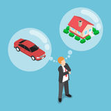 Isometric businessman dreaming about house and car. Flat 3d isometric businessman dreaming about house and car, daydreaming, future financial plan concept stock illustration