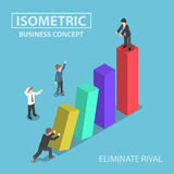 Isometric businessman eliminate his rival by pushing bar graph Royalty Free Stock Photography