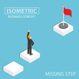Isometric businessman facing with the missing step to success. Flat 3d isometric businessman facing with the missing step to success, business obstacle concept Royalty Free Stock Image