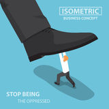 Isometric businessman fight against giant foot. Oppressed, conflict concept, VECTOR, EPS10 Royalty Free Stock Image