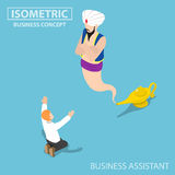 Isometric businessman and genie giant in the magic lamp. Flat 3d isometric businessman and genie giant in the magic lamp, business Assistant and solution concept vector illustration