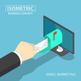Isometric businessman hand getting mail delivery from monitor Royalty Free Stock Images