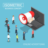 Isometric businessman hand with loudspeaker sticking out. From laptop with people, social media marketing, online advertising concept, VECTOR, EPS10 Stock Photo