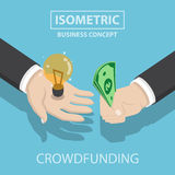 Isometric businessman hands buy and sell new idea Stock Photo