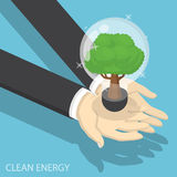 Isometric businessman hands holding eco friendly light bulb Royalty Free Stock Photos