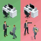 Isometric businessman is hired in an office and employee is fired from his job concept. Vector illustration.  Royalty Free Stock Images