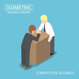 Isometric businessman with his rival doing arm wrestling Royalty Free Stock Images