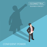 Isometric businessman with his superhero shadow Royalty Free Stock Images