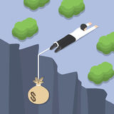 Isometric businessman holding on the cliff edge with money bag  Stock Photography