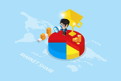 Isometric businessman holding a megaphone on pie chart with golden trophy vector illustration