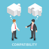 Isometric Businessman In Conversation With Blank Speech Jigsaw S Stock Photography