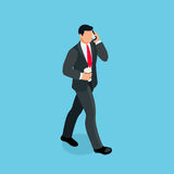 Isometric businessman isolated on blue background. 3d businessman goes with a cup of coffee in his hand and speaks on the phone. Vector illustration Stock Photography