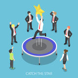 Isometric businessman jumping on the trampoline and catch the st. Flat 3d isometric businessman jumping on the trampoline and catch the star, success career and Stock Photo