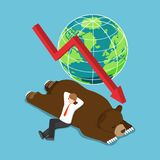 Isometric businessman lay down on sleeping bear. Flat 3d isometric businessman lay down on sleeping bear. bearish stock market and financial concept vector illustration