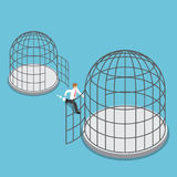 Isometric businessman leave small cage go to the bigger cage. Flat 3d isometric businessman leave small cage go to the bigger cage Stock Images