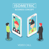 Isometric businessman make video call with his colleague  Royalty Free Stock Photo
