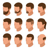 Isometric Businessman or male person character creation set. Collection of of men`s hairstyles, hipster style isolation Stock Photo