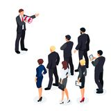 Businessman with a loudspeaker makes a warning. Isometric businessman with megaphone speaking before a group of people. Businessman with a loudspeaker makes a Stock Photography